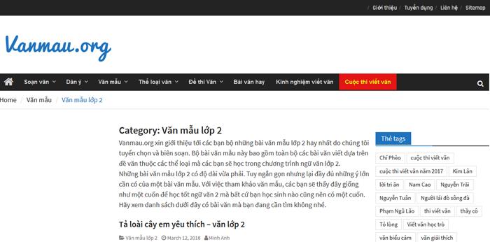 top 10 website nhung bai van mau hay lop 2 moi nhat 1 - Top 10 website những bài văn mẫu hay lớp 2 mới nhất