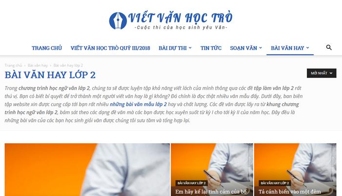 top 10 website nhung bai van mau hay lop 2 moi nhat - Top 10 website những bài văn mẫu hay lớp 2 mới nhất