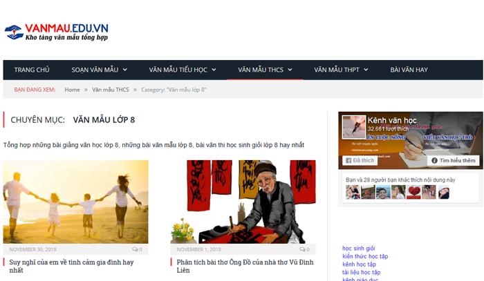 top 10 website nhung bai van mau hay lop 8 moi nhat 2 - Top 10 website những bài văn mẫu hay lớp 8 mới nhất
